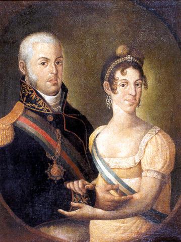 Dom João e sua esposa, dona Carlota Joaquina: retrato feito no século XIX por Manuel Dias de Oliveira, pertence ao acervo do MHN