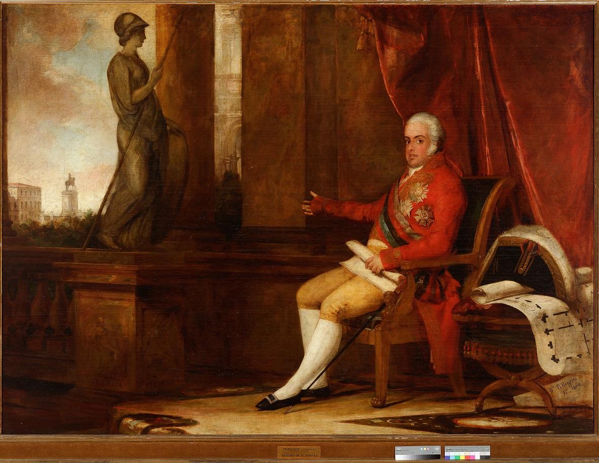 Do Museu Nacional de Arte Antiga (Portugal), a tela de Domenico Pellegrini  (1805) retrata dom João como príncipe regente