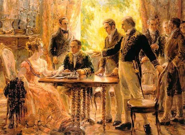 """A pintura histórica """"Sessão do Concelho de Estado"""" (1922), de Georgina de Albuquerque"""
