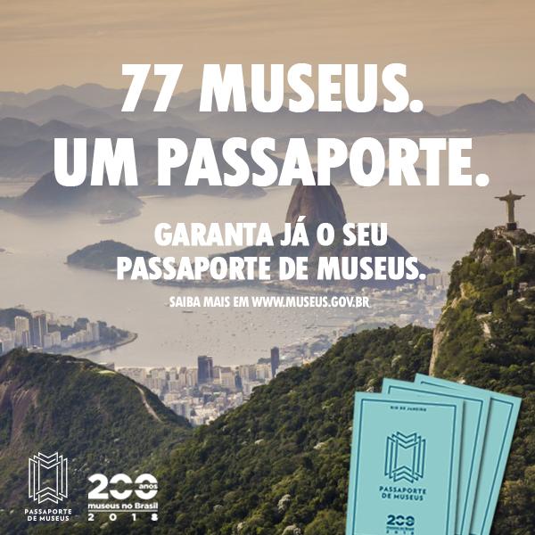 Uma das peças da campanha de divulgação do Passaporte de Museus feita pelo Ibram