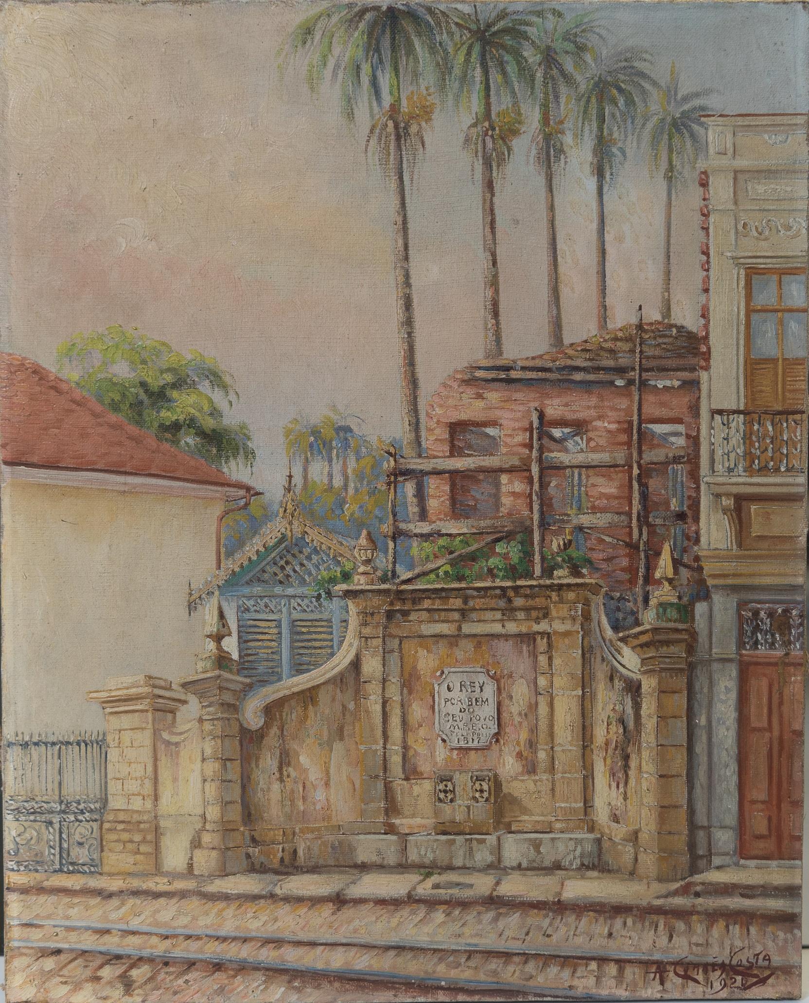 """O quadro """"Chafariz Rua do Riachuelo"""", pintado por Correa Costa em 1920, é uma das obras do MHN na exposição """"Rios do Rio"""""""