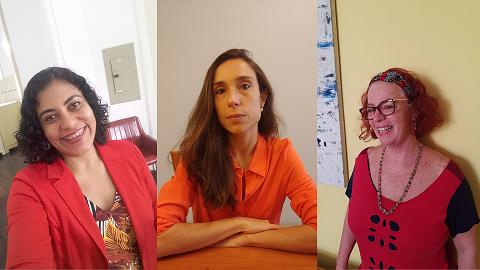 a arquivista Daniella Gomes e as historiadoras Barbara Primo e Isabel Lenzi compõem a equipe do Arquivo Histórico do MHN