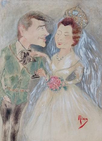 O casamento da princesa inglesa Margareth, em 1960, em uma caricatura de Rian
